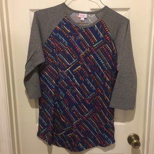 LuLaRoe Randy Shirt Women's L Ragland Blue Gray